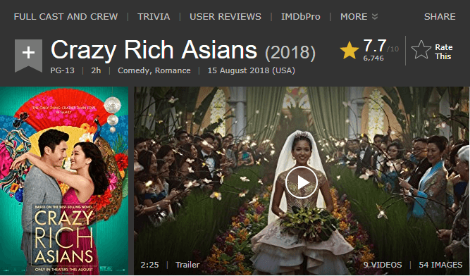 Crazy Rich Asians IMDb Reviews