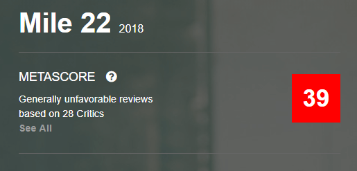 Mile 22 Metacritic Metascore