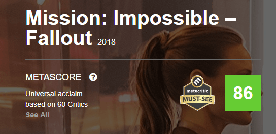 Mission Impossible Fallout Metacritic