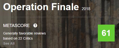 Operation Finale Metacritic Metascore Reviews