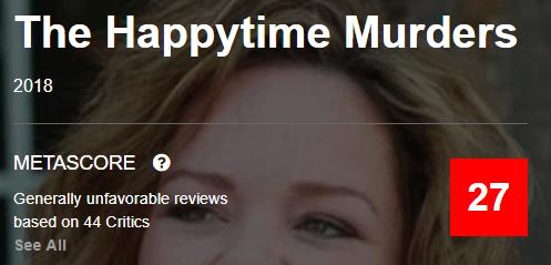 The Happytime Murders Metacritic Metascore Reviews