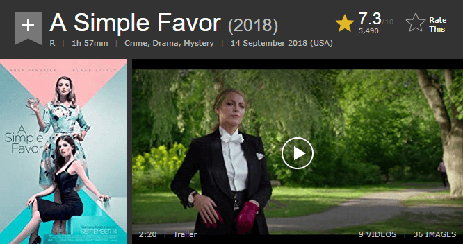 A Simple Favor IMDb Reviews and Ratings