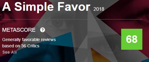 A Simple Favor Metacritic Metascore