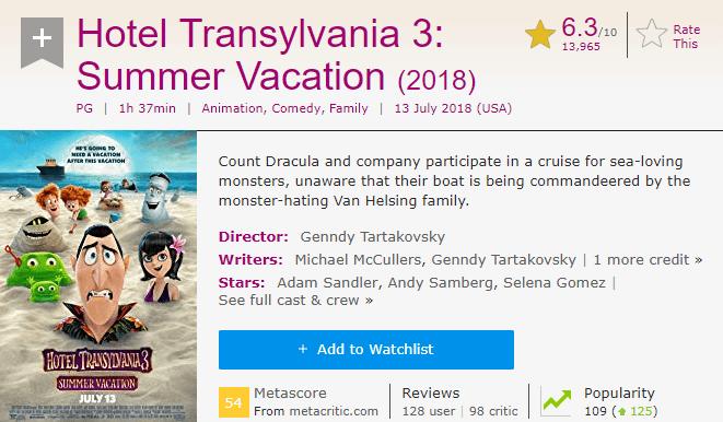 Hotel Transylvania 3 IMDb Reviews and Ratings