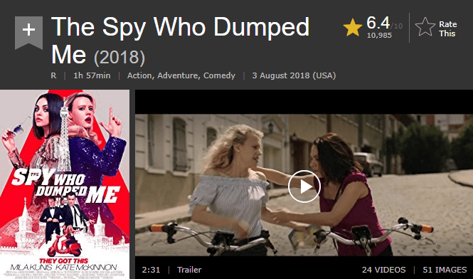 The Spy Who Dumped Me IMDb Reviews and Ratings