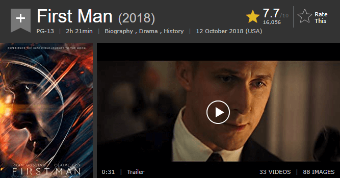 First Man IMDb Ratings and Reviews