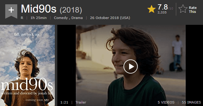 Mid90s IMDb Ratings and Reviews
