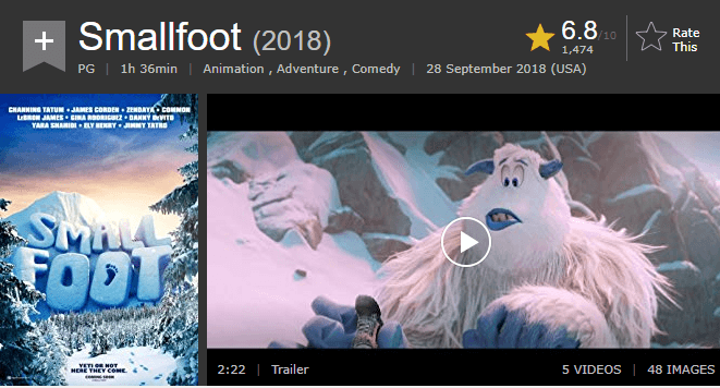 Smallfoot IMDb Reviews and Ratings