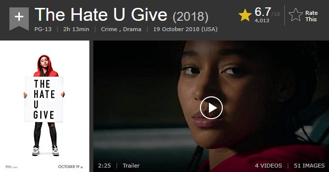 The Hate U Give IMDb Ratings and Reviews
