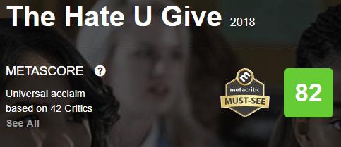 The Hate U Give Metacritic Metascore