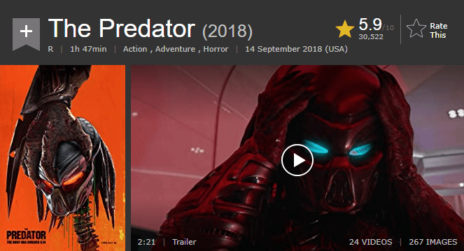 The Predator IMDb Reviews and Ratings