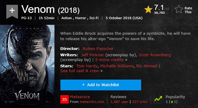 Venom IMDb Reviews and Ratings