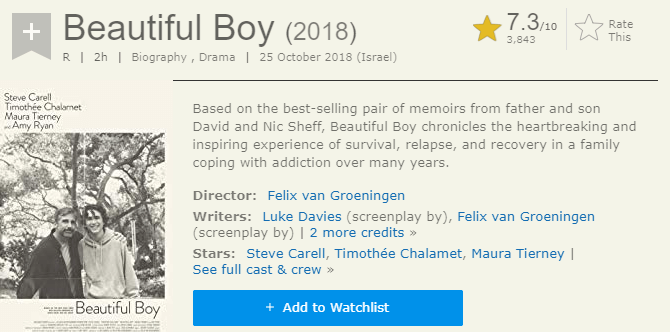 Beautiful Boy IMDb Ratings and Reviews