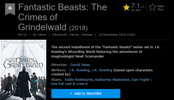 Fantastic Beasts The Crimes of Grindelwald IMDb Reviews and Ratings