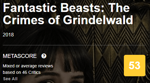 Fantastic Beasts The Crimes of Grindelwald Metacritic Metascore
