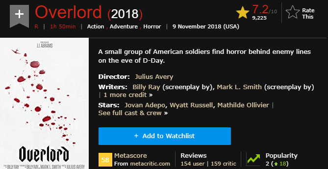 Overlord IMDb Ratings and Reviews