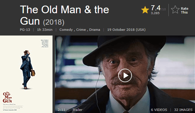 The Old Man & the Gun IMDb Ratings and Reviews