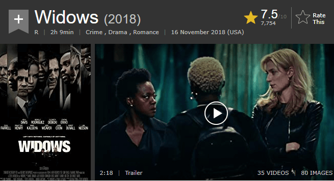 Widows IMDb Ratings and Reviews