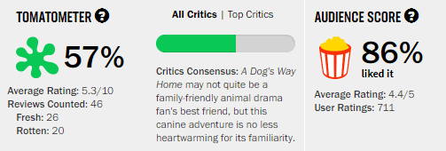 A Dog's Way Home Rotten Tomatoes Tomatometer