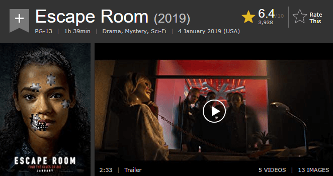 Escape Room IMDb Ratings and Reviews
