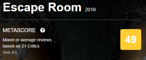 Escape Room Metacritic Metascore