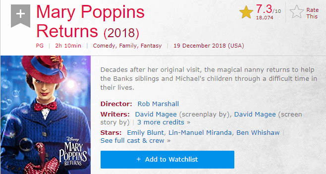 Mary Poppins Returns IMDb Ratings and Reviews