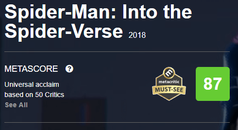 Spider-Man Into the Spider-Verse Metacritic Metascore