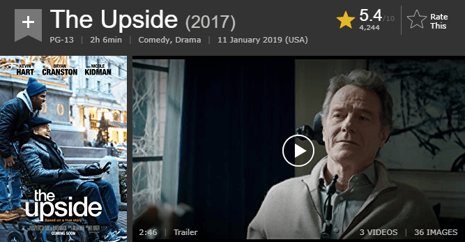 The Upside IMDb Ratings and Reviews